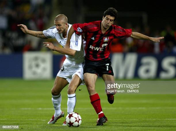 Bayer Leverkusen's Robson Ponte and Real Madrid's David Beckham