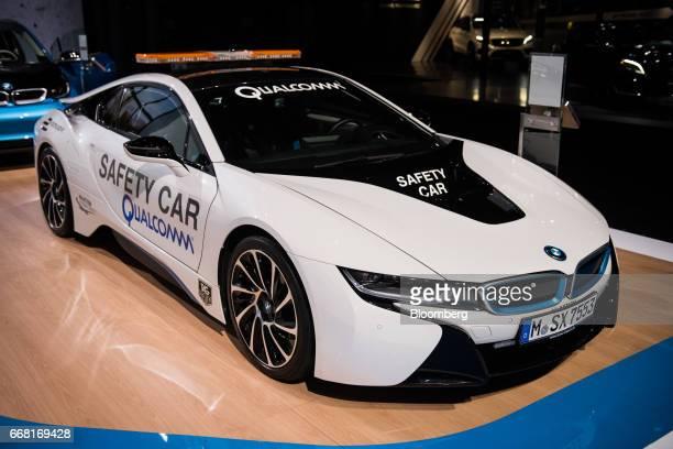 A Bayerische Motoren Werke AG i8 plugin hybrid Formula E safety car is displayed during the 2017 New York International Auto Show in New York US on...
