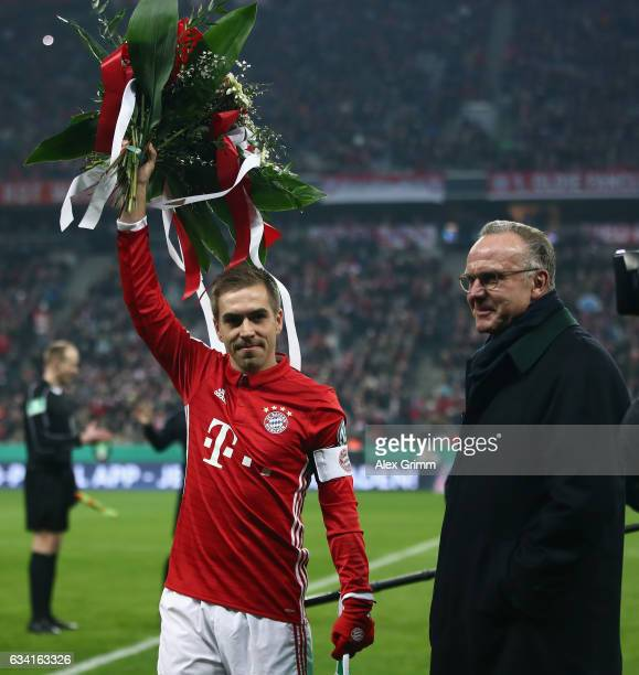 Bayern CEO KarlHeinz Rummenigge honours Philipp Lahm for 500 Bundesliga appearances prior to the DFB Cup Round Of 16 match between Bayern Muenchen...