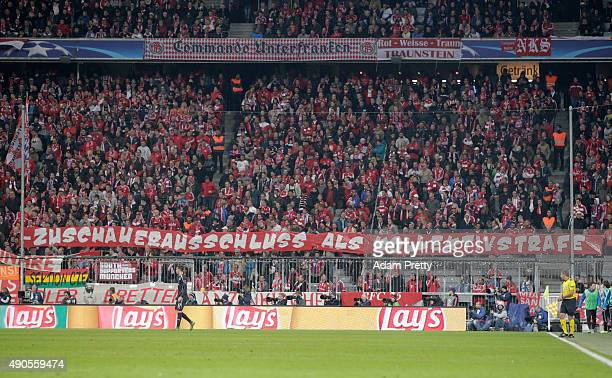 Bayern fans display a banner during the UEFA Champions League Group F match between FC Bayern Munchen and GNK Dinamo Zagreb at the Allianz Arena on...