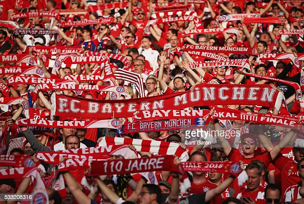 Bayern fans show their support ahead of the DFB Cup Final between Bayern Muenchen and Borussia Dortmund at Olympiastadion on May 21 2016 in Berlin...