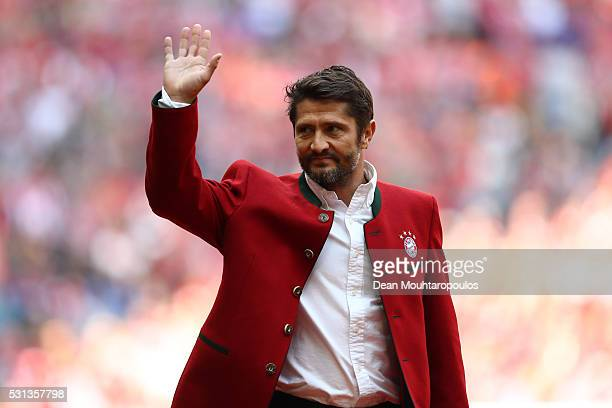 Bayern Legend Bixente Lizarazu is introduced prior to the Bundesliga match between FC Bayern Muenchen and Hannover 96 at Allianz Arena on May 14 2016...