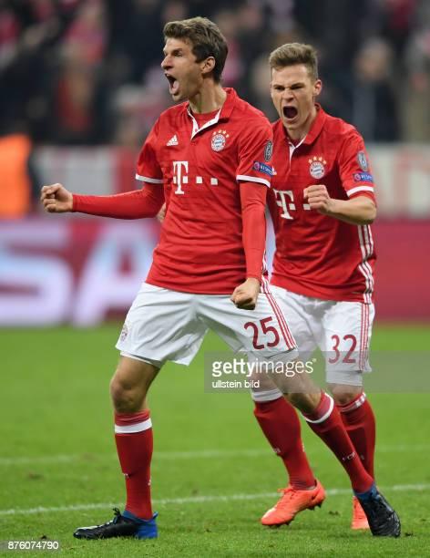 FUSSBALL FC Bayern Muenchen Arsenal London Thomas Mueller und Joshua Kimmich