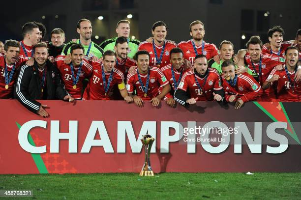 Bayern Muenchen celebrate with the trophy following the FIFA Club World Cup Final match between Bayern Muenchen and Raja Casablanca at Marrakech...