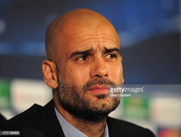 Bayern Muenchen coach Pep Guardiola talks to the media during a press conference at the Landmark Hotel on February 18 2014 in London England