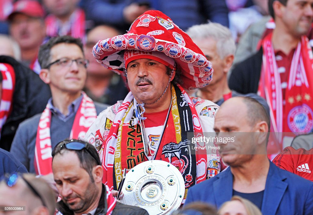 A Bayern Muenchen fan is seen prior to the Bundesliga match between Bayern Muenchen and Borussia Moenchengladbach at Allianz Arena on April 30, 2016 in Munich, Germany.