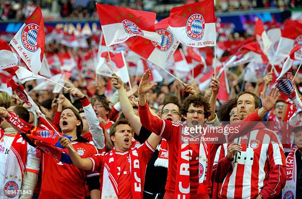 Bayern Muenchen fans ahead of the UEFA Champions League final match between Borussia Dortmund and FC Bayern Muenchen at Wembley Stadium on May 25...