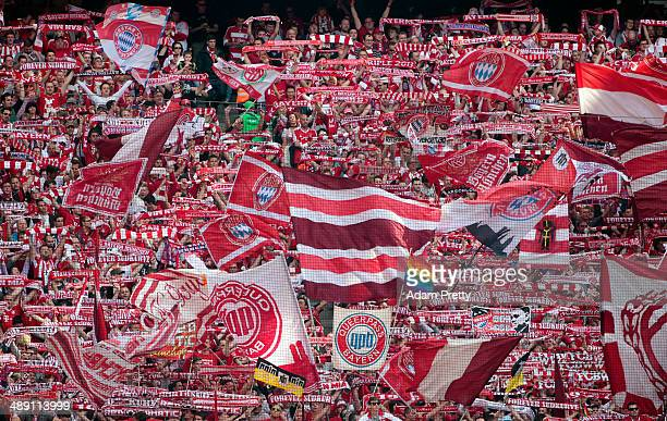 Bayern Muenchen fans show their support during the Bundesliga match between Bayern Muenchen and VfB Stuttgart at Allianz Arena on May 10 2014 in...
