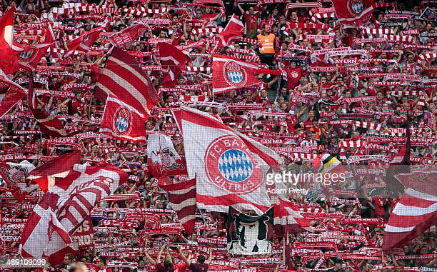 Bayern Muenchen fans show their support prior to the Bundesliga match between Bayern Muenchen and VfB Stuttgart at Allianz Arena on May 10 2014 in...