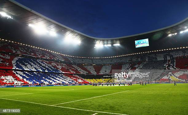 Bayern Muenchen fans show their support prior to the UEFA Champions League semifinal second leg match between FC Bayern Muenchen and Real Madrid at...