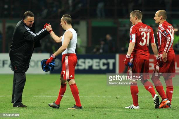Bayern Muenchen head coach Louis van Gaal and Franck Ribery celebrate victory at the end of the UEFA Champions League round of 16 first leg match...