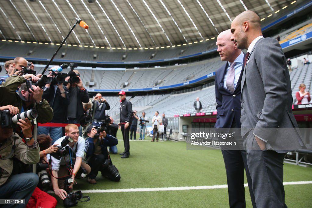 FC Bayern Muenchen new Head Coach <a gi-track='captionPersonalityLinkClicked' href=/galleries/search?phrase=Josep+Guardiola&family=editorial&specificpeople=2088964 ng-click='$event.stopPropagation()'>Josep Guardiola</a> (R) visits with <a gi-track='captionPersonalityLinkClicked' href=/galleries/search?phrase=Matthias+Sammer&family=editorial&specificpeople=555228 ng-click='$event.stopPropagation()'>Matthias Sammer</a>, sporting director of Bayern Muenchen the Allianz Arena on the day he is unveiled as Bayern's new coach on June 24, 2013 in Munich, Germany.