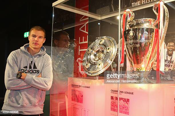 Bayern Muenchen player Holger Badstuber visits the FC Bayern Erlebniswelt museum at Allianz Arena on November 23 2014 in Munich Germany