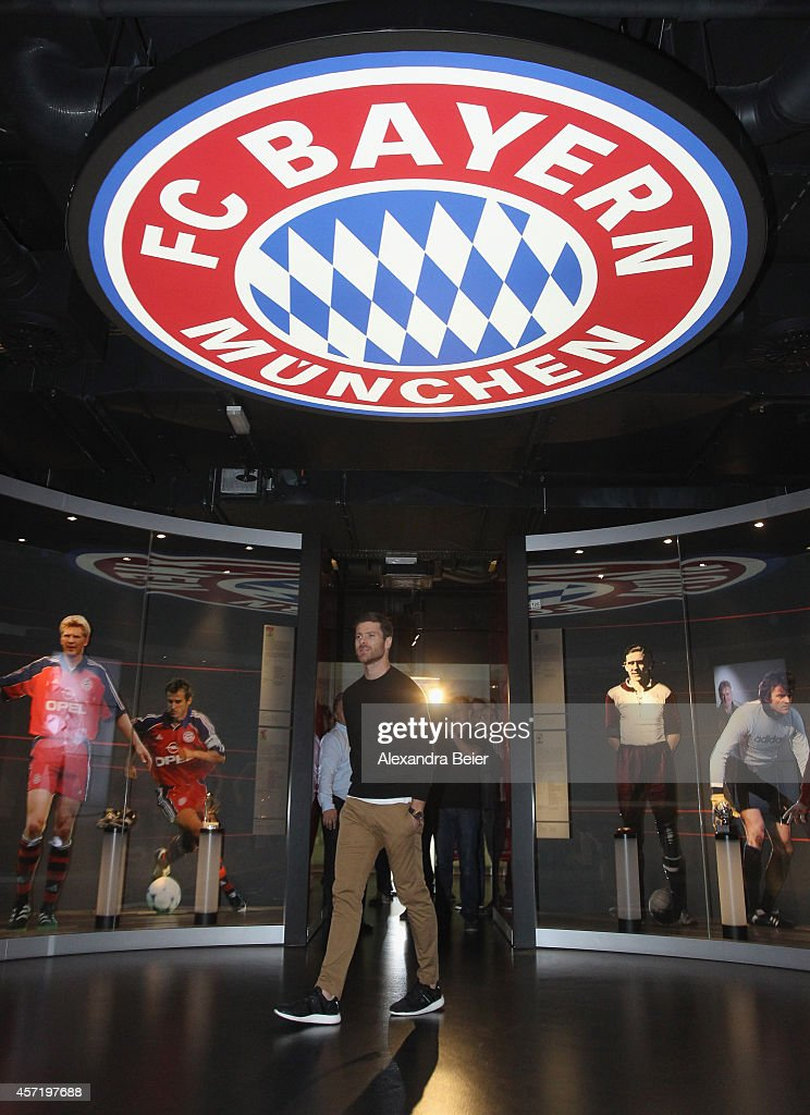 FC Bayern Muenchen player Xabi Alonso visits the FC Bayern Erlebniswelt museum at Allianz Arena on October 14, 2014 in Munich, Germany.