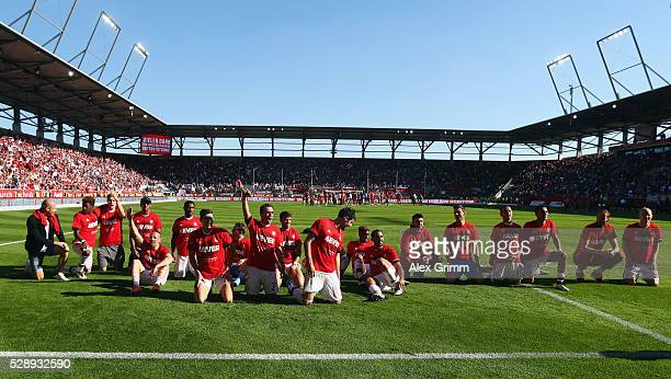 Bayern Muenchen players celebrate being Bundesliga champions after beating Ingolstadt 21 in the Bundesliga match between FC Imgolstadt and FC Bayern...