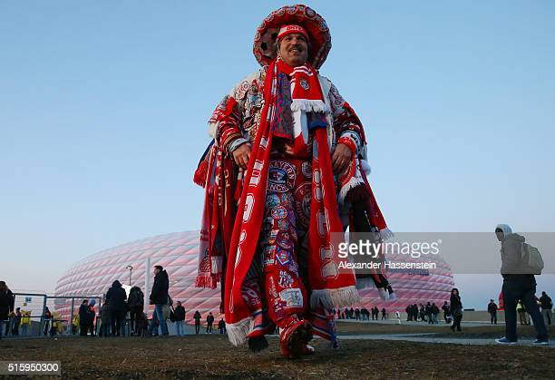 Bayern Muenchen supporter is seen prior to the UEFA Champions League round of 16 second Leg match between FC Bayern Muenchen and Juventus at the...