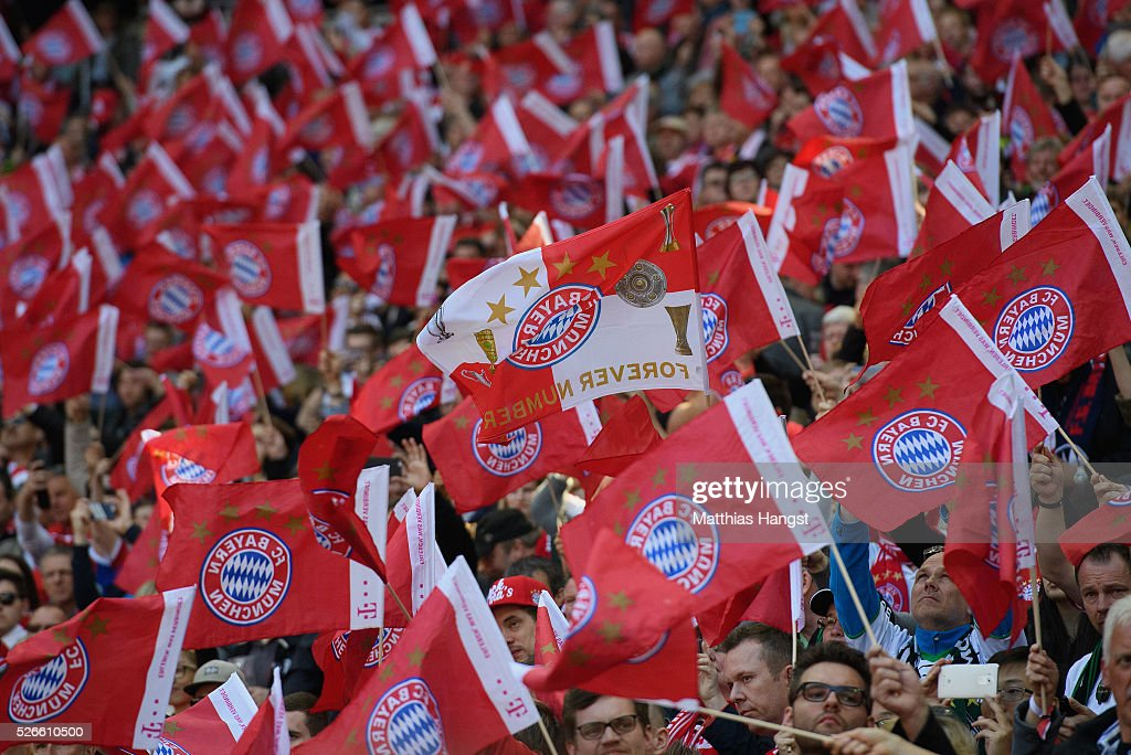 Bayern Muenchen supporter seen prior during the Bundesliga match between FC Bayern Muenchen and Borussia Moenchengladbach at Allianz Arena on April 30, 2016 in Munich, Germany.