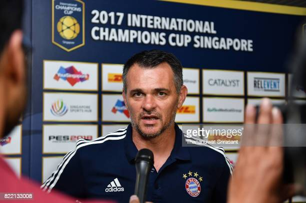 Bayern Muenchen team assistance manager Willy Sagnol interviews during the International Champions Cup match between Chelsea FC and FC Bayern Munich...