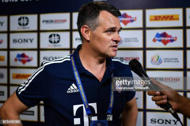 Bayern Muenchen team assistance manager Willy Sagnol interviews during the International Champions Cup match between FC Bayern Munich and FC...