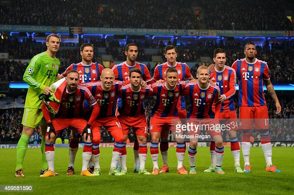 Bayern Muenchen team pose for the cameras prior to kickoff during the UEFA Champions League Group E match between Manchester City and FC Bayern...