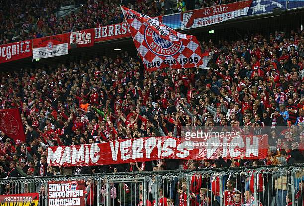 Bayern Munchen fans display a message during the UEFA Champions League Group F match between FC Bayern Munchen and GNK Dinamo Zagreb at the Allianz...