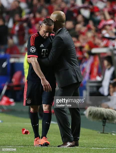 Bayern Munchen's midfielder Franck Ribery with FC Bayern Munchen's head coach Josep Guardiola during the UEFA Champions League Quarter Final Second...