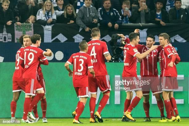 FC Bayern Munich celebrate a goal of James Rodriguez of FC Bayern Munich during the Bundesliga match between Schalke 04 and Bayern Munich on...