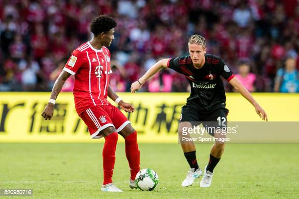 Bayern Munich Defender David Alaba plays against AC Milan Defender Andrea Conti during the 2017 International Champions Cup China match between FC...