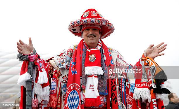 Bayern Munich fan poses outside the stadium prior to the UEFA Champions League quarter final first leg match between FC Bayern Muenchen and SL...