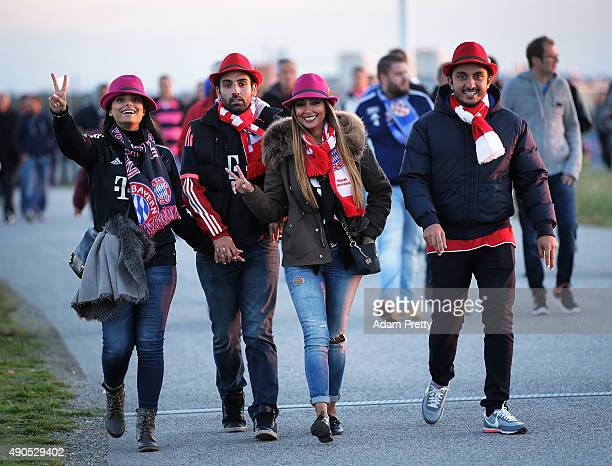 Bayern Munich fans arrive at the Allianz Arena before the UEFA Champions League match between FC Bayern Munchen and GNK Dinamo Zagreb at Allianz...