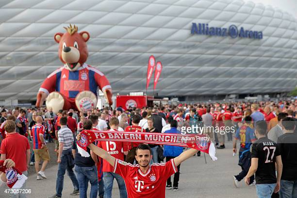 Bayern Munich fans pose outside the stadium ahead of the UEFA Champions League semi final second leg match between FC Bayern Muenchen and FC...