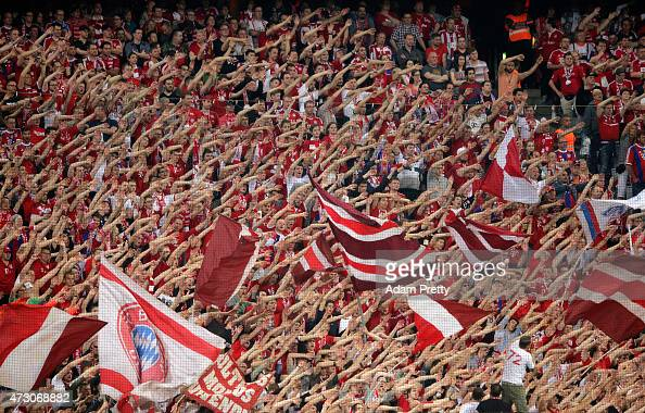 Bayern Munich fans show their support during the UEFA Champions League semi final second leg match between FC Bayern Muenchen and FC Barcelona at...