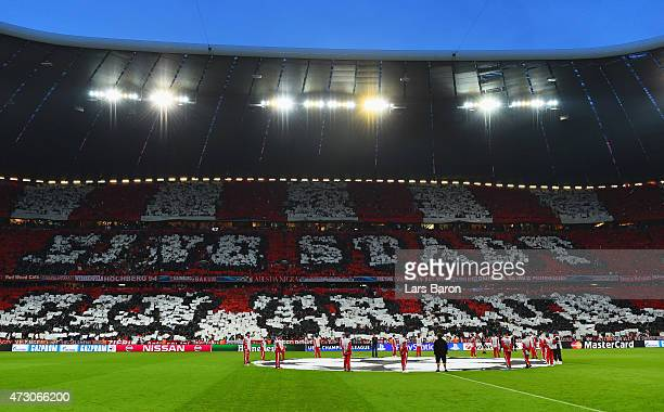 Bayern Munich fans show their support prior to the UEFA Champions League semi final second leg match between FC Bayern Muenchen and FC Barcelona at...