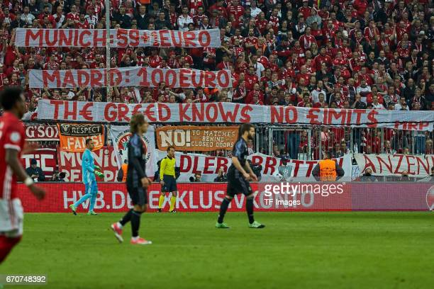 Bayern Munich fans with a banner during the UEFA Champions League Quarter Final first leg match between FC Bayern Muenchen and Real Madrid CF at...