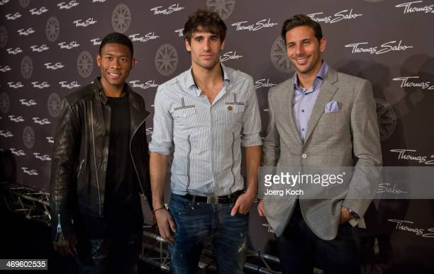 Bayern Munich FootballPlayers David Alaba Javier Martinez and Claudio Pizarro attend the Thomas Sabo Karma Night at Postpalast on February 15 2014 in...