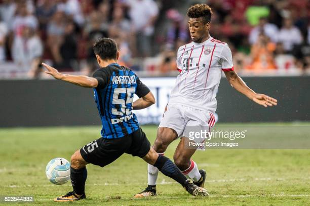 Bayern Munich Forward Kingsley Coman FC Internazionale Defender Yuto Nagatomo during the International Champions Cup match between FC Bayern and FC...