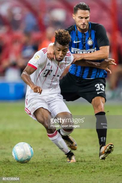 Bayern Munich Forward Kingsley Coman fights for the ball with FC Internazionale Defender Danilo D'u2019Ambrosio during the International Champions...