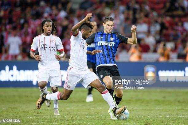 Bayern Munich Forward Kingsley Coman fights for the ball with FC Internazionale Midfielder Roberto Gagliardini during the International Champions Cup...