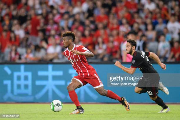 Bayern Munich Forward Kingsley Coman plays against AC Milan Midfielder Hakan Calhanoglu during the 2017 International Champions Cup China match...