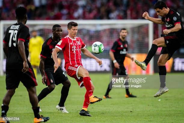 Bayern Munich Forward Robert Lewandowski in action against AC Milan Midfielder Giacomo Bonaventura during the 2017 International Champions Cup China...