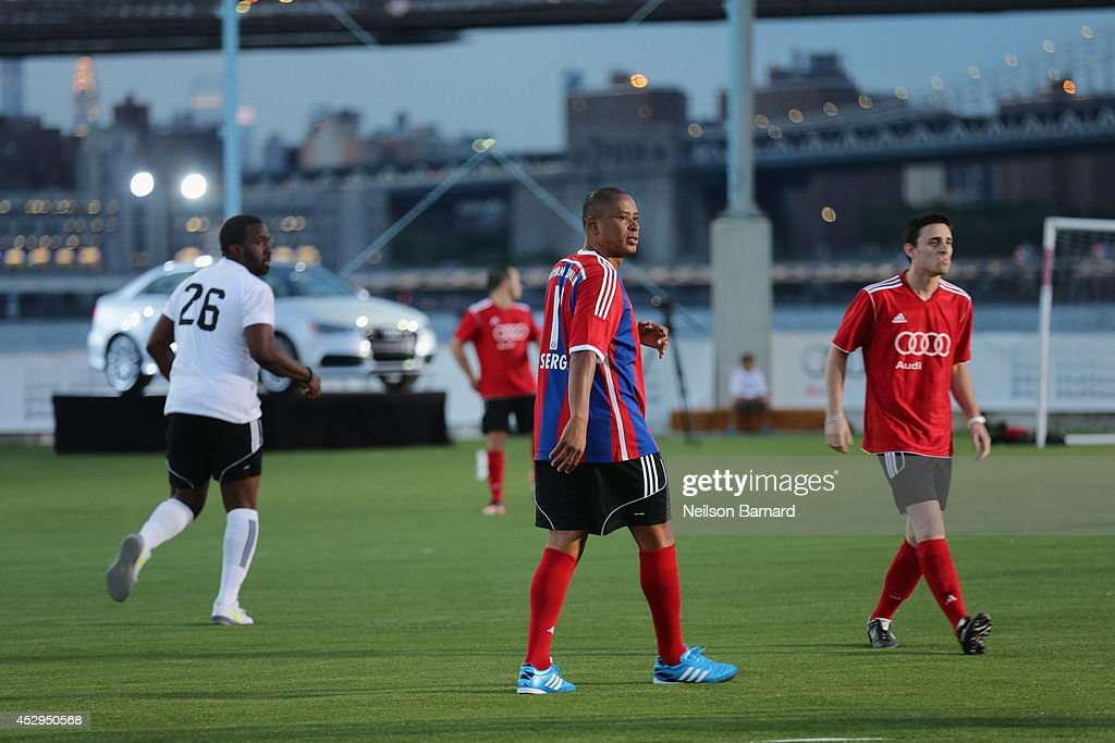 Bayern Munich legend Paulo Sergio at the Audi Soccer PickUp Game at Pier 2 at Brooklyn Bridge Park on July 30 2014 in Brooklyn borough of New York...