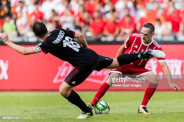 Bayern Munich Midfielder Franck Ribery plays against AC Milan Midfielder Riccardo Montolivo during the 2017 International Champions Cup China match...