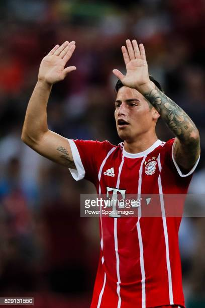 Bayern Munich Midfielder James Rodríguez gestures during the International Champions Cup match between Chelsea FC and FC Bayern Munich at National...