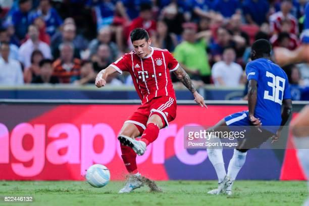 Bayern Munich Midfielder James Rodrguez in action against Chelsea Midfielder Jeremie Boga during the International Champions Cup match between...