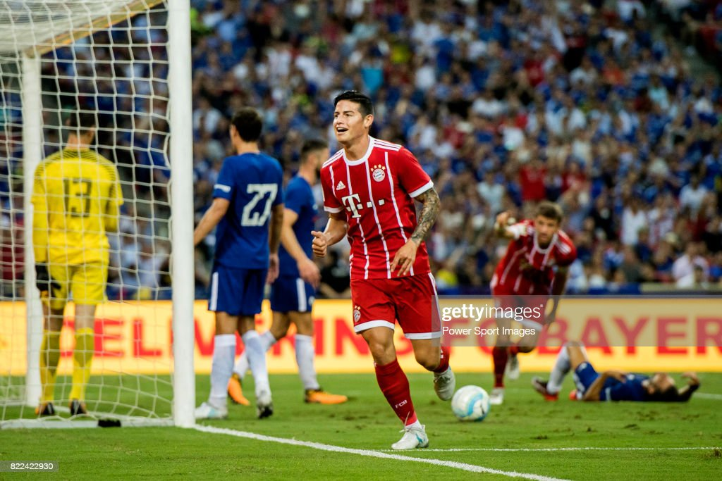 Bayern Munich Midfielder James Rodriguez celebrates Bayern's second goal during the International Champions Cup match between Chelsea FC and FC Bayern Munich at National Stadium on July 25, 2017 in Singapore.