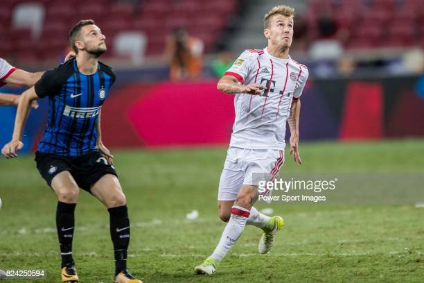 Bayern Munich Midfielder Niklas Dorsch fights for the ball with FC Internazionale Midfielder Marcelo Brozovic during the International Champions Cup...