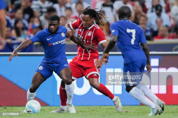Bayern Munich Midfielder Renato Sanches fights for the ball with Chelsea Midfielder Jeremie Boga during the International Champions Cup match between...