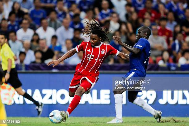 Bayern Munich Midfielder Renato Sanches fights for the ball with Chelsea Midfielder N'Golo Kante during the International Champions Cup match between...