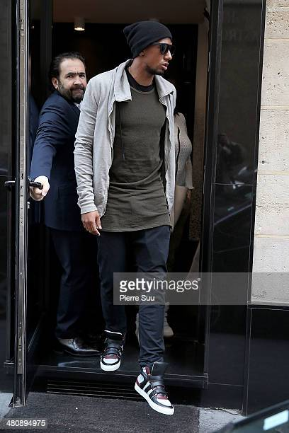 Bayern Munich player Jerome Boateng and his girlfriend sighting at 'numi' restaurant for lunch on March 27 2014 in Paris France