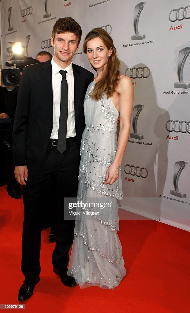 Bayern Munich player player Thomas Mueller and his wife Lisa attend the Audi Generation Award 2010 at Hotel Bayerischer Hof on October 23, 2010 in Munich, Germany.